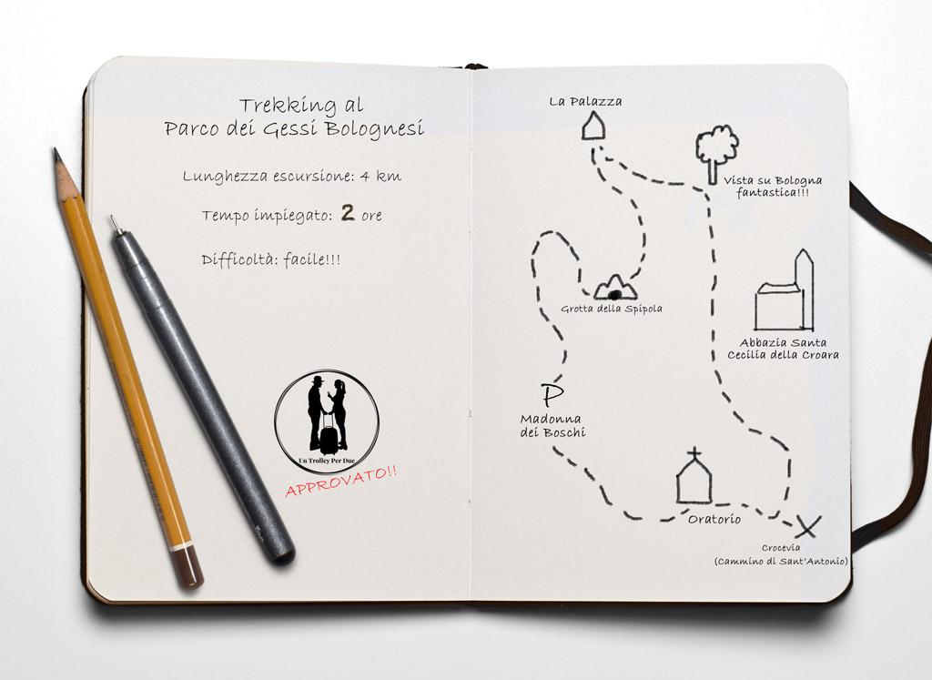 mappa trekking gessi della croara