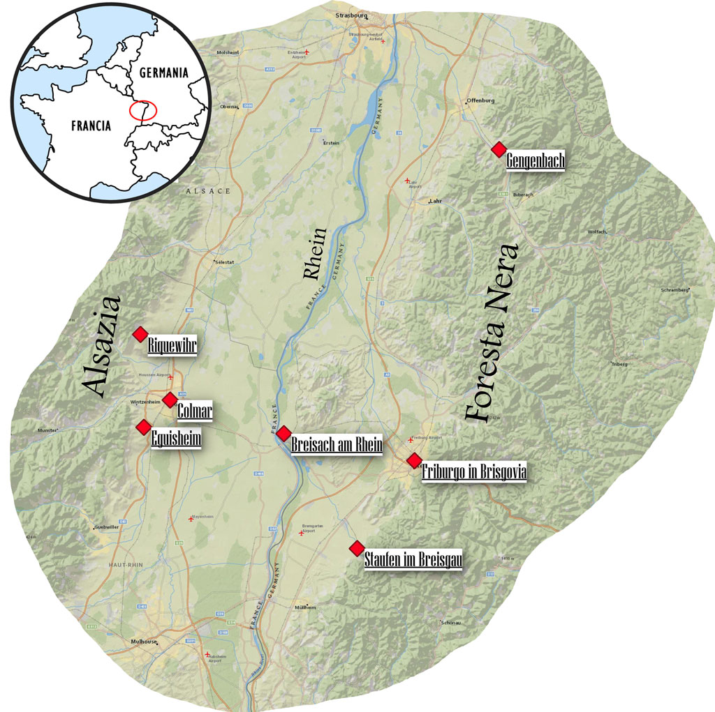 mappa alsazia e foresta nera